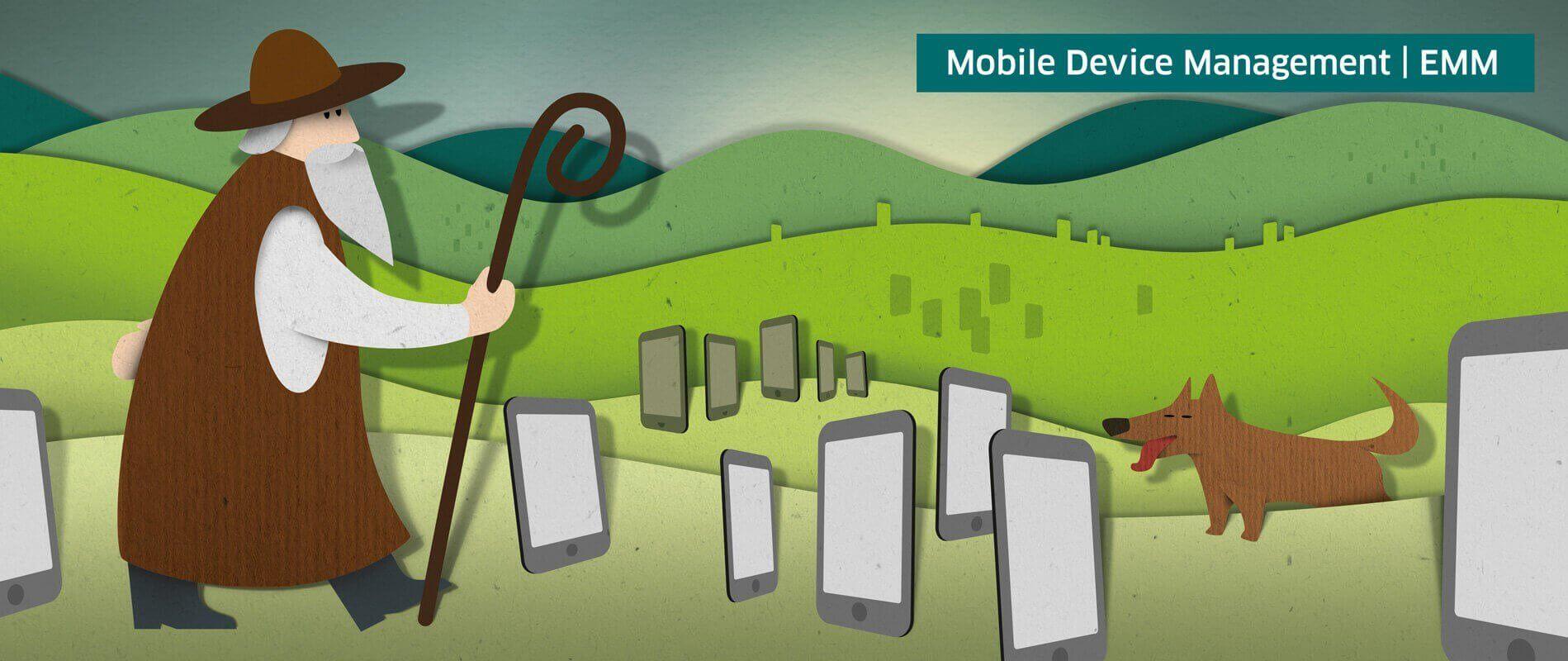 Illustration Mobile Device Management mit MDM Software